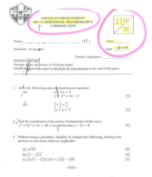 Sec 3 A-Maths Topical test Jan 2014